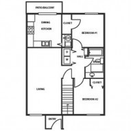 876ft² 2 Bedroom, 1 Bathroom Floorplan