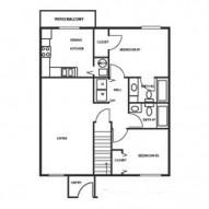 959ft² 2 Bedroom, 2 Bathroom Floorplan